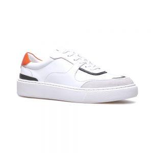 Custom White/Orange Leather Sneaker